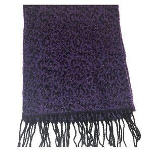 Plum purple leopard scarf